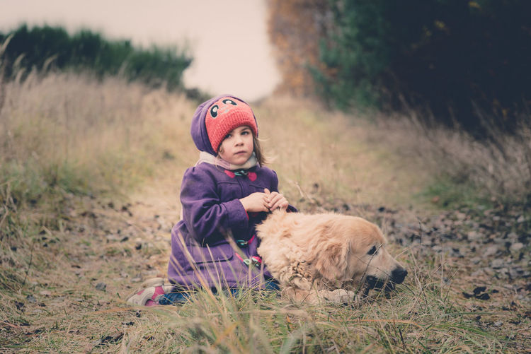 Little lonely girl with sad face wearing red hat and purple jacket sitting with her golden labrador dog on the grass in a cold autumn day Animal Themes Childhood Day Dog Domestic Animals Full Length Girls Grass Leisure Activity Lifestyles Mammal Nature One Animal One Person Outdoors People Pets Portrait Real People Sitting Warm Clothing