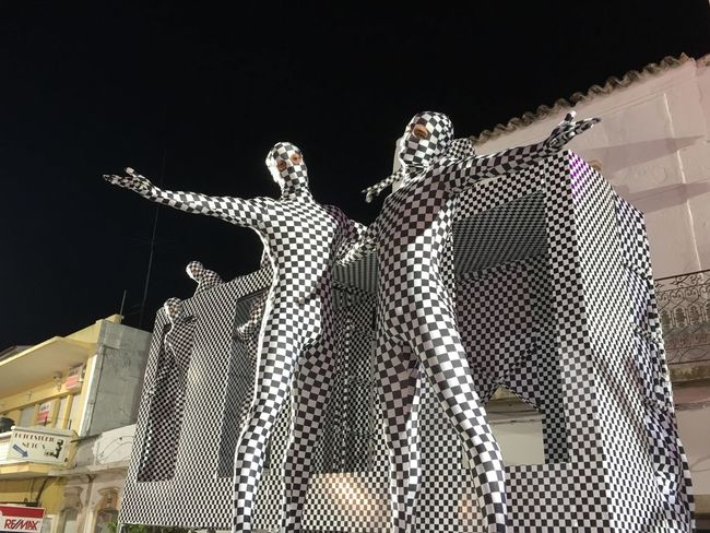 Low Angle View Unusual Figures Night Blackandwhite Loule Festival