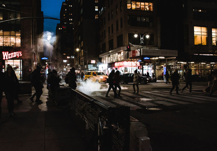 Urban Architecture City Life New York New York City City Group Of People Street Night Real People Crowd Illuminated Large Group Of People City Street Outdoors Nightlife Crossing