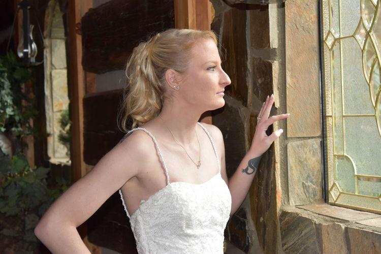 Favorite pose Bridal Photoshoot Portraits Wedding Photography EyeEm Selects Blond Hair Young Women Beautiful Woman Beauty Bride Beautiful People Standing Wedding Dress Window Door Looking Through Window Window Sill EyeEmNewHere