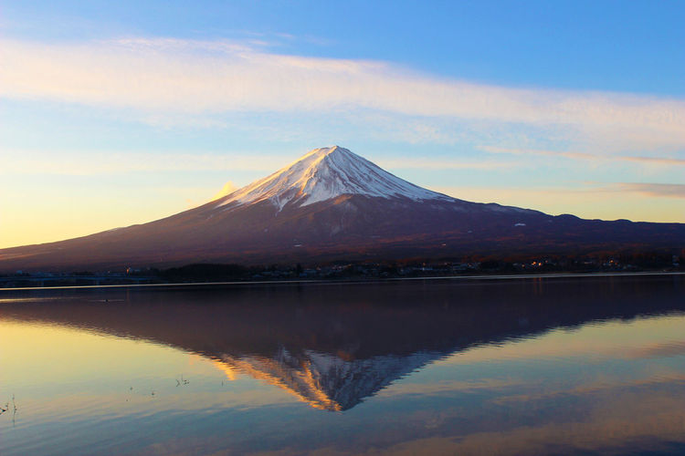 Scenic view of mount fuji during sunset
