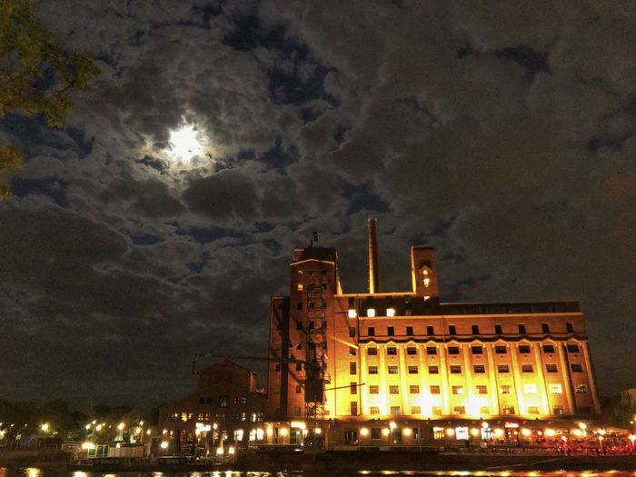 Night Building Exterior Built Structure Architecture Illuminated Sky Low Angle View Nature Building City Outdoors No People Cloud - Sky Lighting Equipment Industry Glowing Travel Destinations