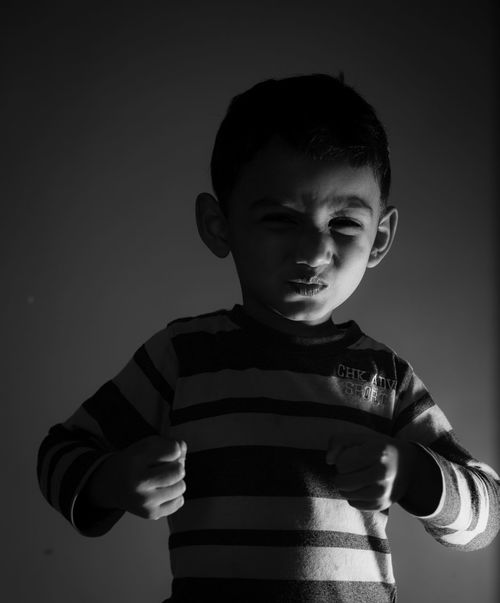 expression Children Only Child Childhood One Person People Front View Boys Studio Shot One Boy Only Portrait Indoors
