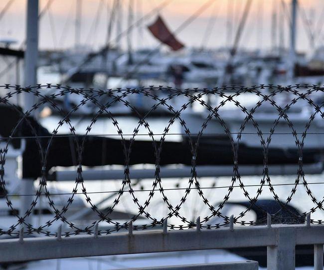 Razor wire fence at harbor