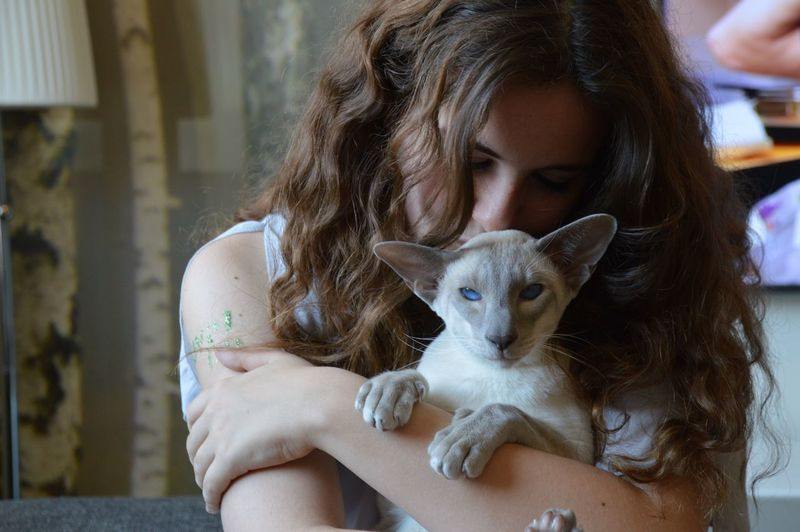 Close-up of young woman hugging cat