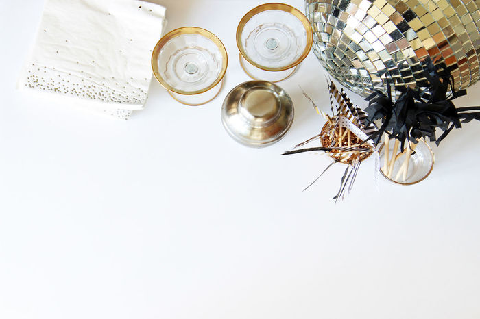 Mixology Alcohol Background Bar Celebrate Close Up Cocktail Bar Copy Space Decorations Dinner Party Disco Ball Elegant Festive Food And Drink Glamour Glasses Home Bar Luxury Mixology Mock Up Party Shaker Silver  Styled Wedding Reception White