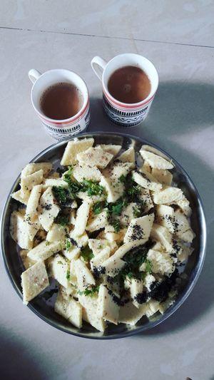 Braekfast Tea Cupoftea Indianfood Dhokla Yummy