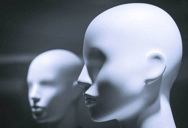 Close-up of mannequins