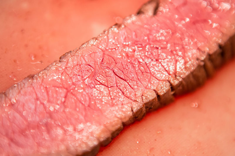 BLOODY Beef Cooking Meal Meat! Meat! Meat! Blood Close-up Extreme Close-up Flank Steak  Food Food And Drink Juicy Meat Medium Rare No People Pink Color Red Red Meat SLICE Steak The Great Outdoors - 2018 EyeEm Awards