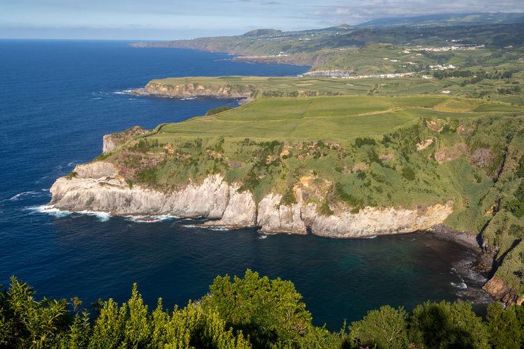 View of rocky coastline - sao miguel island, azores, seen from the miradouro de santa iria viewpoint