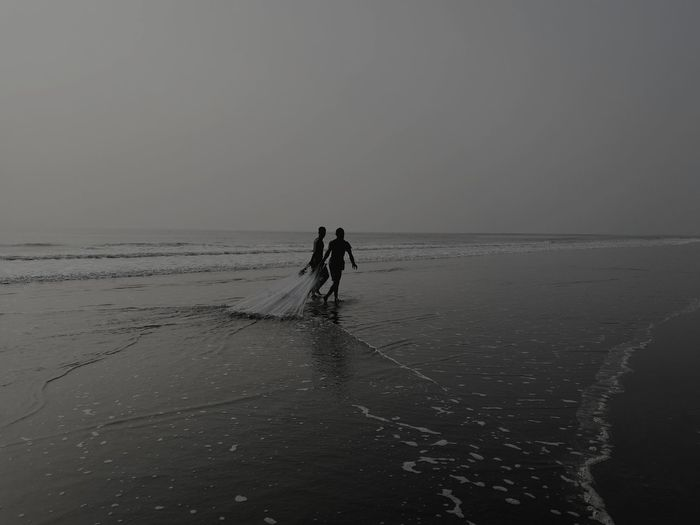 Beach Two People Silhouette HuaweiP9 Lifestyles. Beautiful Bangladesh Street Photography Cox Bazar. Longest Sea Beach Of The World: Cox's Bazaar Beauty In Nature Nature Vist Bangladesh
