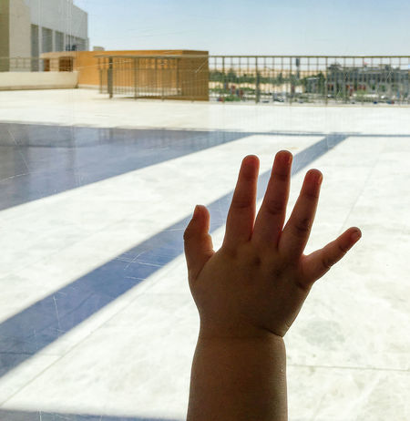 Architecture Baby Babyboy Building Exterior Bye Bye Close-up Finger Fingers Five Glass Goodbye Hand Hi5 Human Body Part Human Hand One Person Outdoors People Real People Shadow Small Sunlight