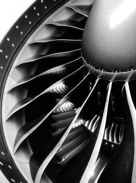Turbo fan blades Technology Turbo Blades Jet Jumbo Jet Power Aerodynamic Aircraft Airplane Engine Turbo Engine Hangar Engineering Intake Airport Trust Combustion Oil Airline Safety Aluminium Metal Iron Design Circle