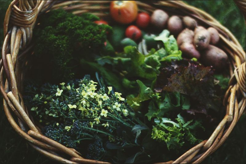 Close-Up Of Various Vegetables In Wicker Basket