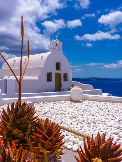 Amazing Santorini island summer view, Cyclades, Greece Caldera Church Oia Santorini Plants Santorini Island Santorini, Greece Sunny Architecture Blue Building Exterior Built Structure Cloud - Sky Cyclades Day Greece Horizon Over Water Landmark No People Oia Outdoors Santorini Sea Sky White White Color