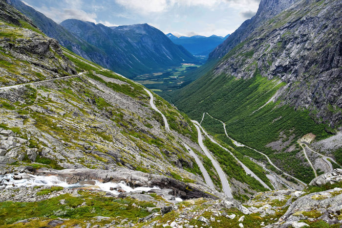 Norway Road Rock Scandinavia Decline Hairpin Bend Landscape Mountain Mountain Range Serpentine Steep Street Trollstigen Valley