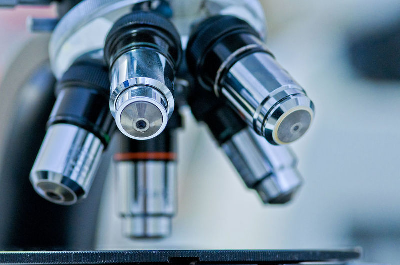 Close-up of microscope in laboratory