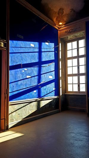 Lothar Baumgarten Room Blue Room Light And Shadow Blue Wall Castle Interior Perspective Contemporary Art Museum Window Sunlight Architecture Sky Built Structure Close-up Metal Grate Closed Window Frame Door Grate