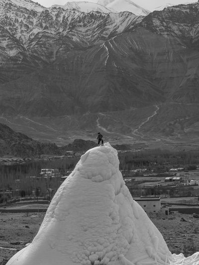 on top of ice stupa Ice Stupa Winterinladakh LehLadakh Winterwonderland Cold Mountains Artificial Glacier Ladakh Landscape On Top Of The World Ice Mountain Outdoors Landscape Nature People Adult Adults Only Day One Person Snow Beauty In Nature Travel Destinations Scenics Bird Adventure One Man Only Only Men Animal Themes Flamingo Sky Go Higher