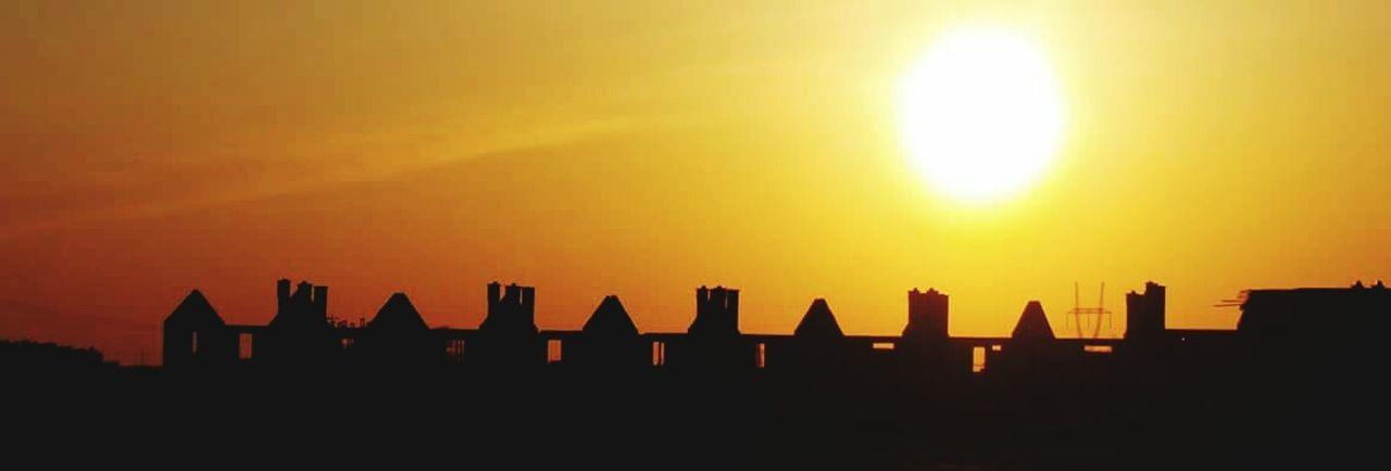 Sun Słońce Budynek Sunset Orange Color