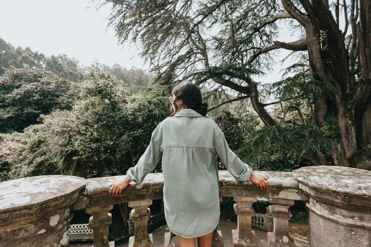 Rear view of woman looking at trees