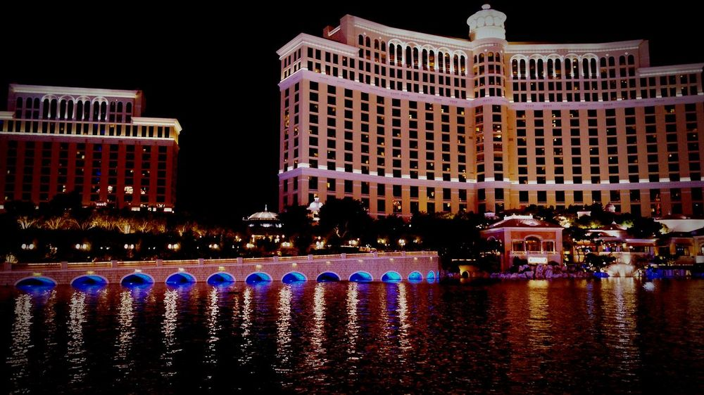 Hotel Resort Hotel Water Reflections Playing With Filters Playing With Light Las Vegas Hotel Casino Nightphotography Water City View  Cityscapes Vaccination Architecture_collection Architectural Detail Amazing Architecture Night Lights Night Photography Light And Shadow