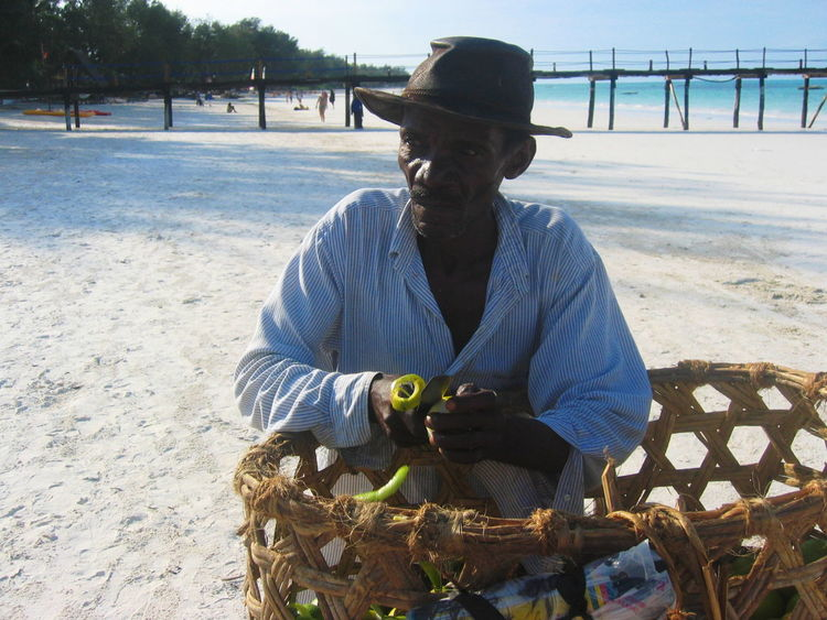 2006 Basket Beach Cutting Day Fruit Seller Hat Jetty Knife Moustaches One Person Outdoors Water Zanzibar