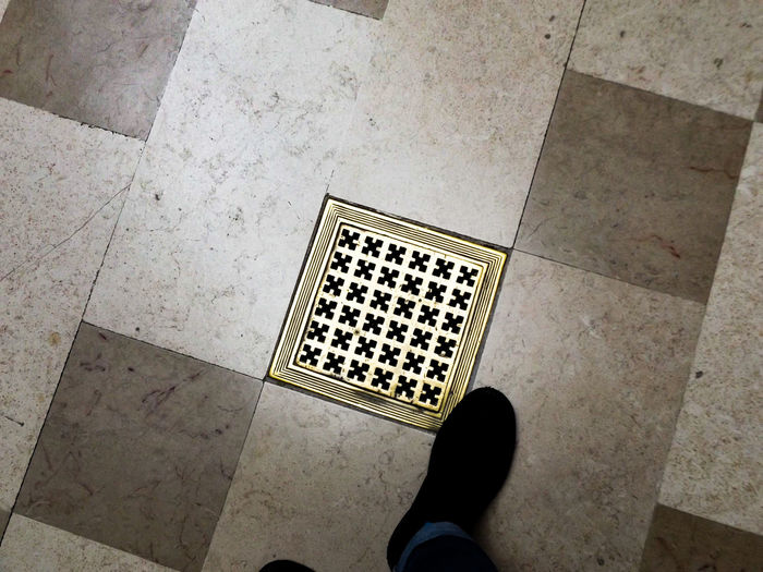 Light, Black & Gold. On The Floor Floor Patterns Geometry Geometric Shape Detail Look Down Architectural Feature Squared Architectural Detail Learning And Having Fun On A Mission Wiki Loves Art Architecture Light Creativity Museum Walking Around Shoes Boots Jeans Autoportrait