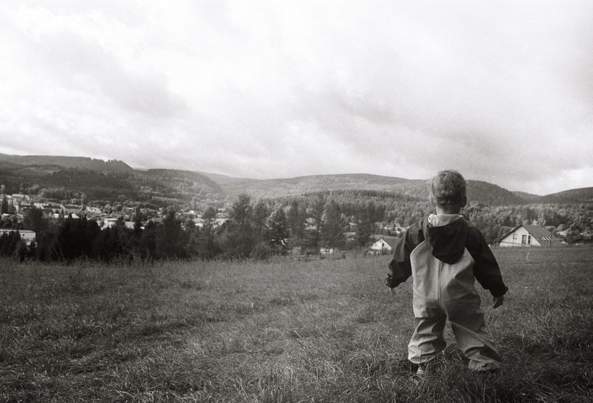 Adventure Adventures Childhood Field Landscape Memories Nature One Person Outdoors People Real People Warm Clothing Analogue Photography