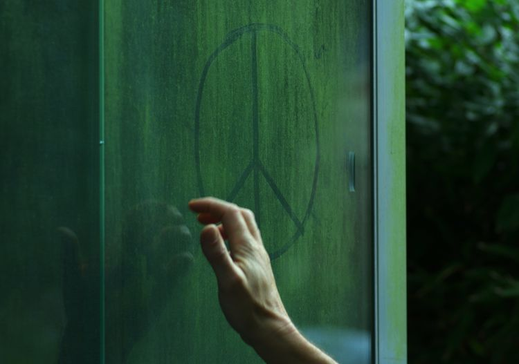 Cropped hand drawing peace symbol window