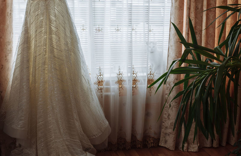 Bride Celebration Curtain Drapes  Hiding Cat Home Interior Inddors Textile Wedding Wedding Dress Window