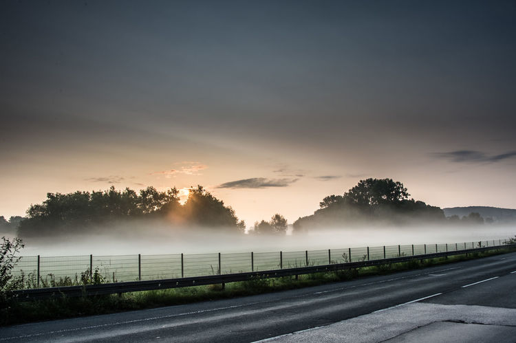 Morning fog Rural Beauty In Nature Fog Landscape Morning Fog Nature No People Outdoors Rural Scene Sky Sunrise Tranquil Scene Tranquility