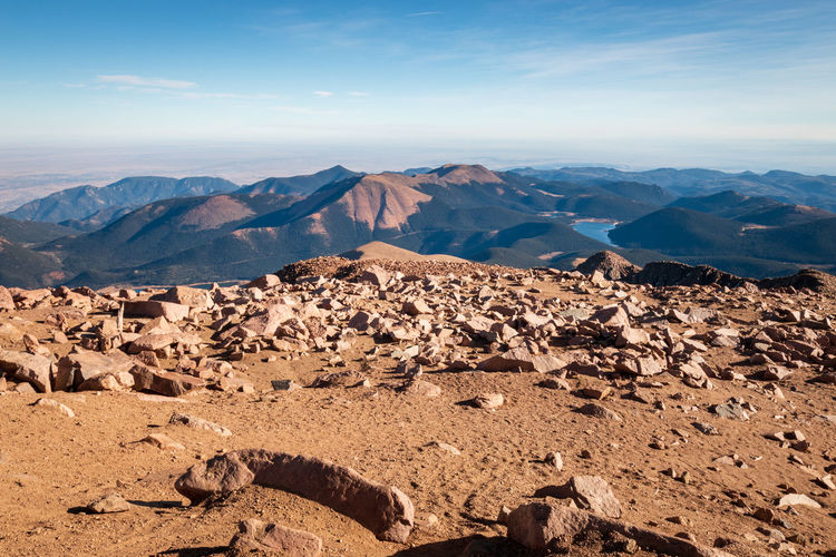 Scenic view to colorado landscape in direction southwest seen from top of pikes peak against sky