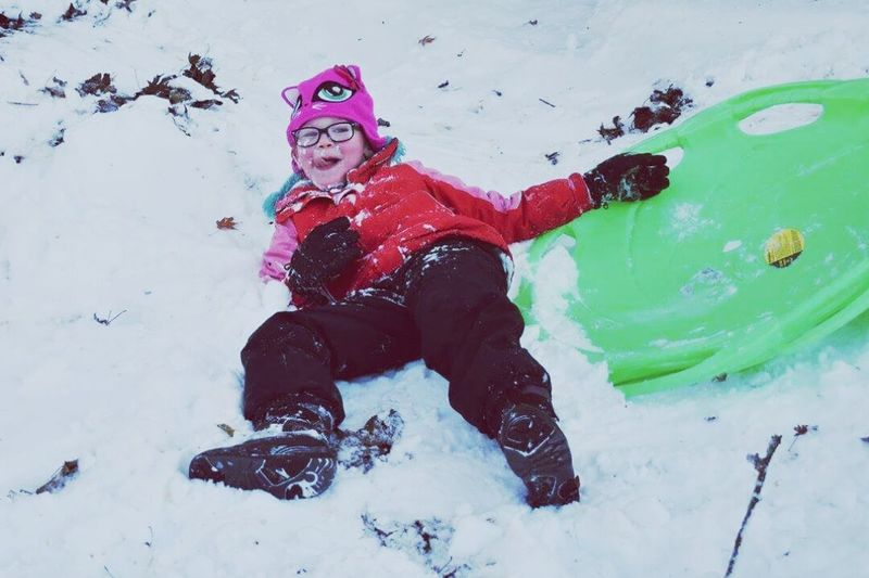 Weekend Adventures Kids Sledding Winter Snow Cold Temperature Outdoors Sledding