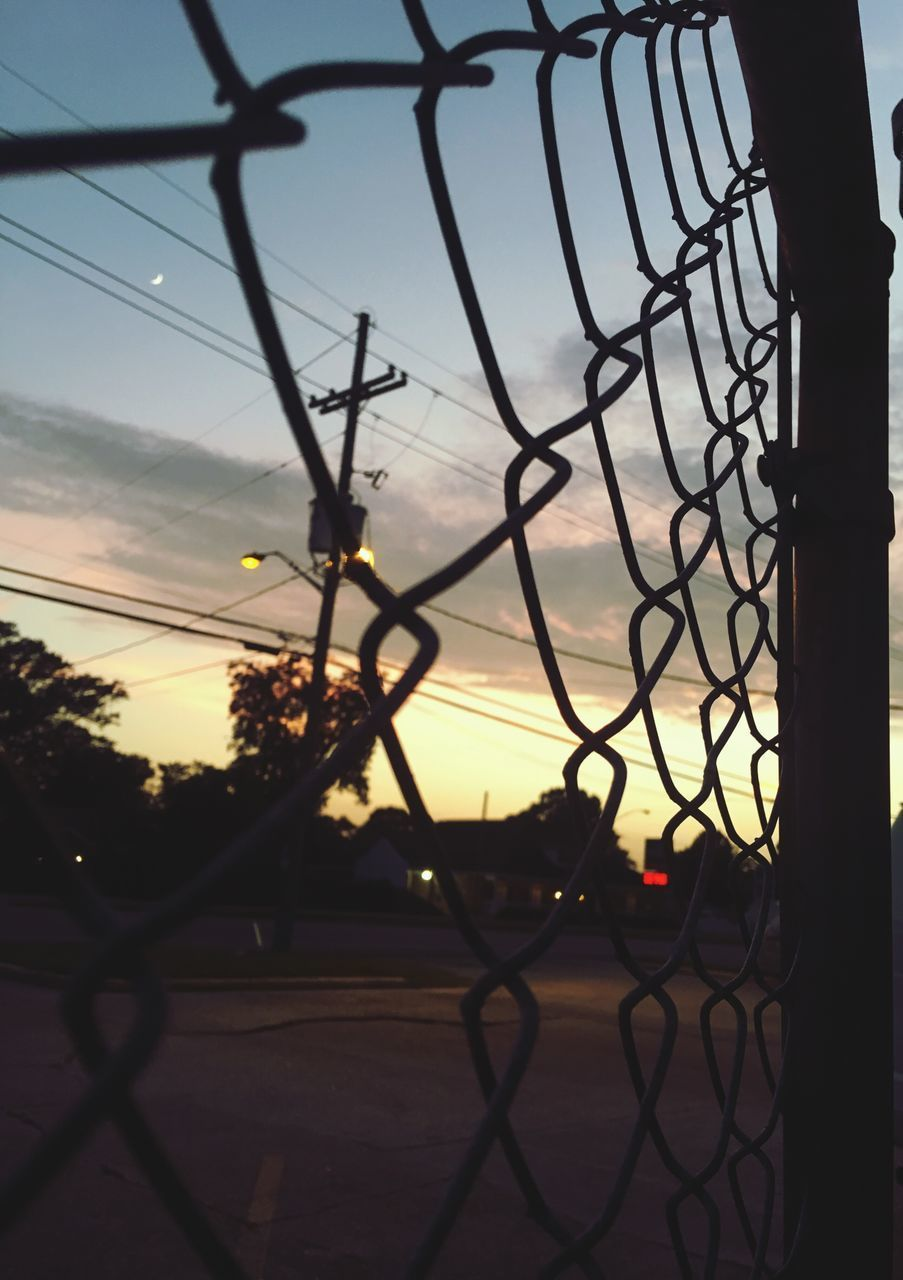 chainlink fence, safety, sunset, metal, sky, security, protection, silhouette, outdoors, no people, day, nature, close-up