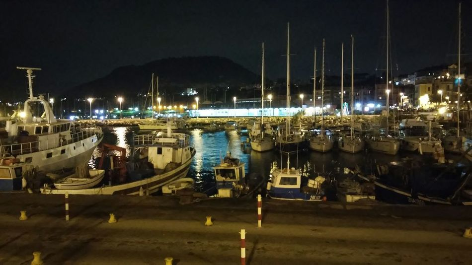 Sea From My Point Of View Relaxing Night Water Boats Lights Mountain Restaurant Port Harbour Harbor