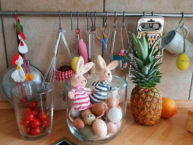Kitchen Utensils Easter Bunny In Glass Household Objects Preparing For Easter Multi Colored Kitchen Decoration Indoors  No People