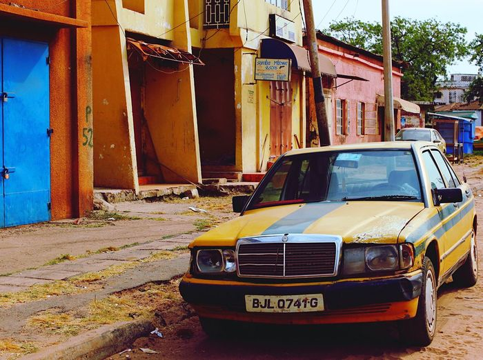 Finding New Frontiers Gambia  Africa Taxi Yellowcab Public Transportation Colour Streetphotography Car