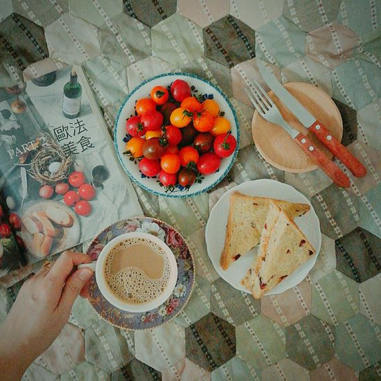 Food And Drink Food Freshness High Angle View Healthy Eating On The Table Breakfast Breaktime Foodphotography Food And Drink Colourful Human Hand Bowl Human Body Part Ready-to-eat Table Day Indoors  One Person People Cherry Tomatoes Toastbread