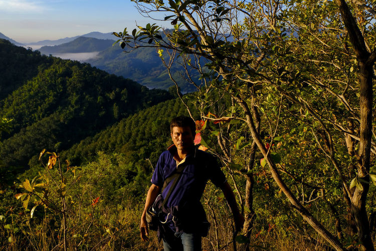 A male traveler exploring top of mountain on foggy morning, trekking in forest on vacations trip