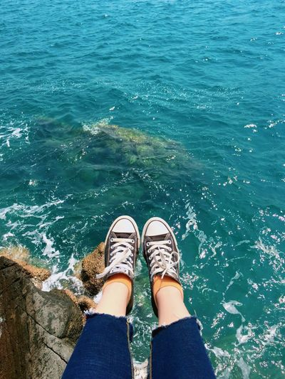 EyeEm Selects Low Section Human Leg One Person Water Personal Perspective Standing Nature Sea Shoe High Angle View Lifestyles