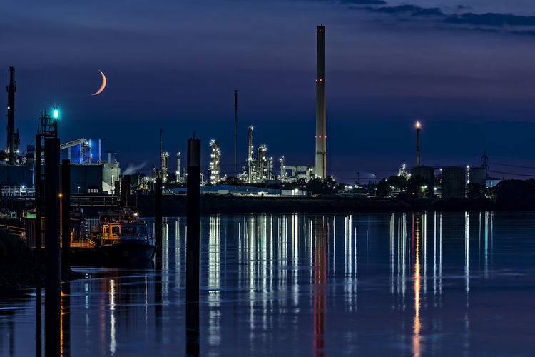 Harbour Impression Artificial Light Crescent Moon Hamburg Harbour Architecture Boat Building Exterior Built Structure Calm Water City Cityscape Cloud - Sky Dusk Factory Illuminated Industry Long Exposure Nature Night Nightscape No People Office Building Exterior Outdoors Pillars Reflection Sea Ship Sky Skyscraper Smoke Stack Water Waterfront