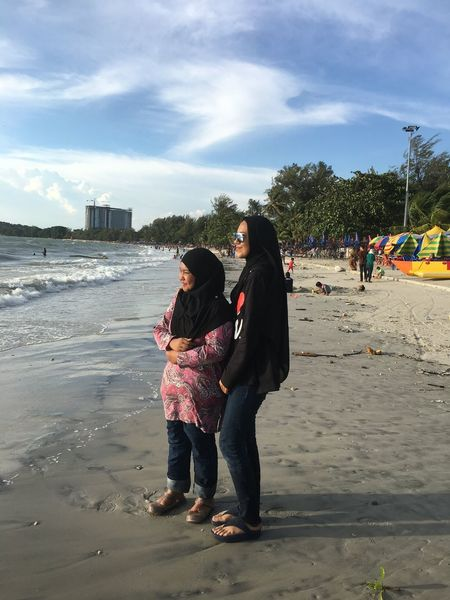 cousins... Young Women City Full Length Beach Togetherness Women Sand Standing Sea