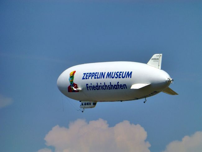 Airship on Tour Air Vehicle Airplane Airship Clouds And Sky Flying Friedrichshafen No People Outdoors Sky Zeppelin Zeppelinmuseum