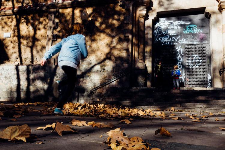 Running Real People Sweeping Fall Low Section Leaf Vein Leaves Footwear Human Leg Human Feet Human Foot Shoe Personal Perspective Möp Dusting Broom