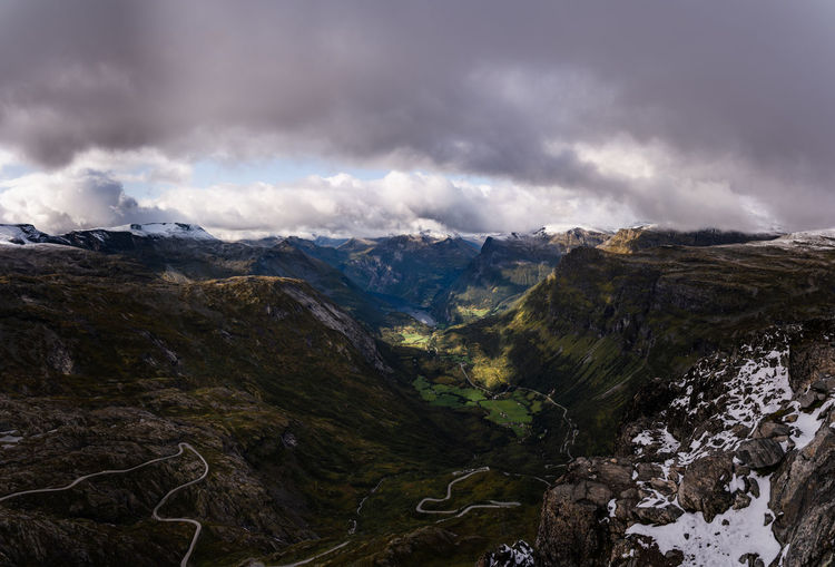 View of geiranger fjord from dalsnibba viewpoint at about 1500m over sealevel