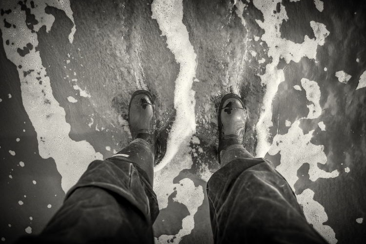 Looking Down 03. Such a strange feeling, looking down on the sand with the tide going out ! Nearly a selfie lol. Fuji XT1 with Zeiss 32mm. Boots Casual Clothing Check This Out Close-up Day FUJIFILM X-T1 Leisure Activity Lifestyles Low Section Monochrome Myself Outdoor Photography Outdoors Outside Person Personal Perspective Sea Standing Walking Around Water Water_collection Waterfront Wellington  Zen