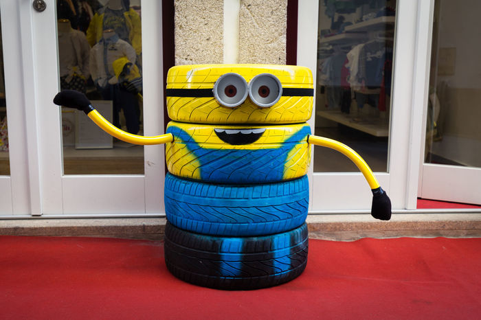 Minion made of used car tyres Blue Car Cute Funny Kids Lima Minion  Minions Ponte Ponte De Lima Portugal Self Made Tyre Tyres Yellow