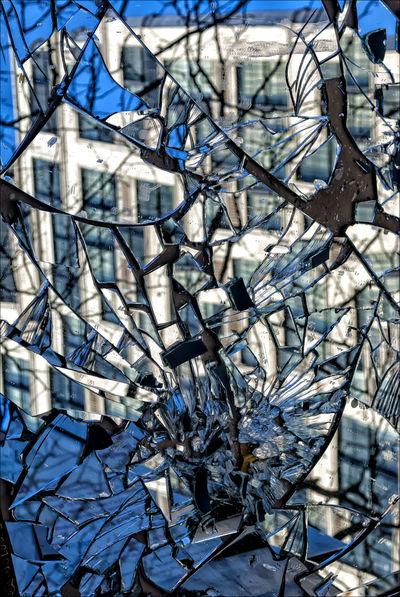 Broken Mirror City Reflections Broken Mirror Broken Mirror Still Mirror Reflected Buildings Still Life