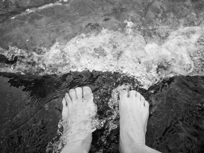 too cold ..... Black & White Cold Feet Water The Week On EyeEm Editor's Picks